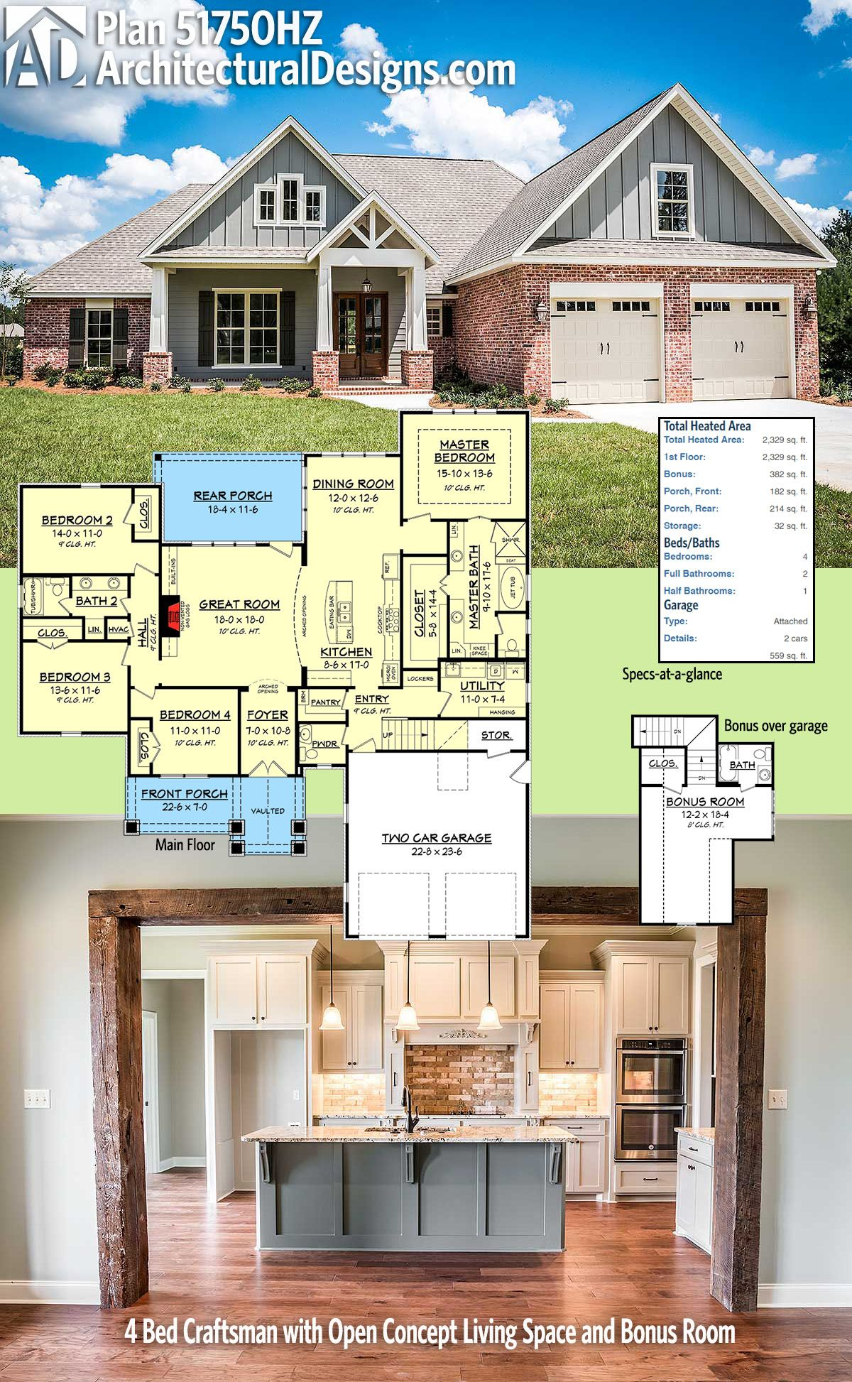 Plan 51750hz 4 Bed Craftsman With Open Concept Living Space And Bonus Room Craftsman House Plans Acadian House Plans New House Plans