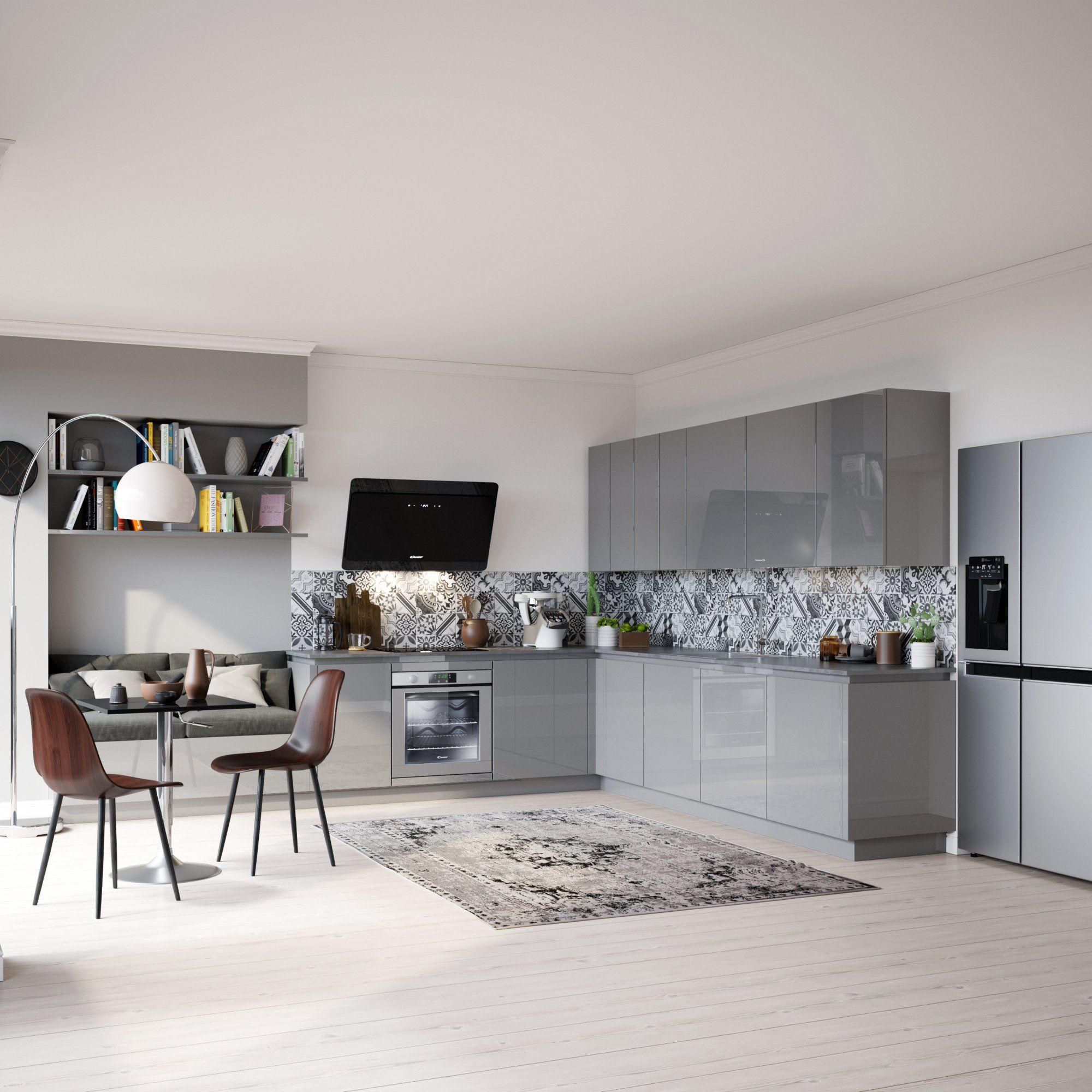 Cuisine Ouverte Grise Avec Carreaux De Ciment Pour La Crédence Et Un - Carrelage cuisine et tapis rose et taupe