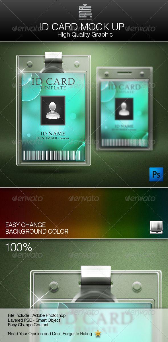 ID Card Mock up Photoshop e Carte - id card psd template