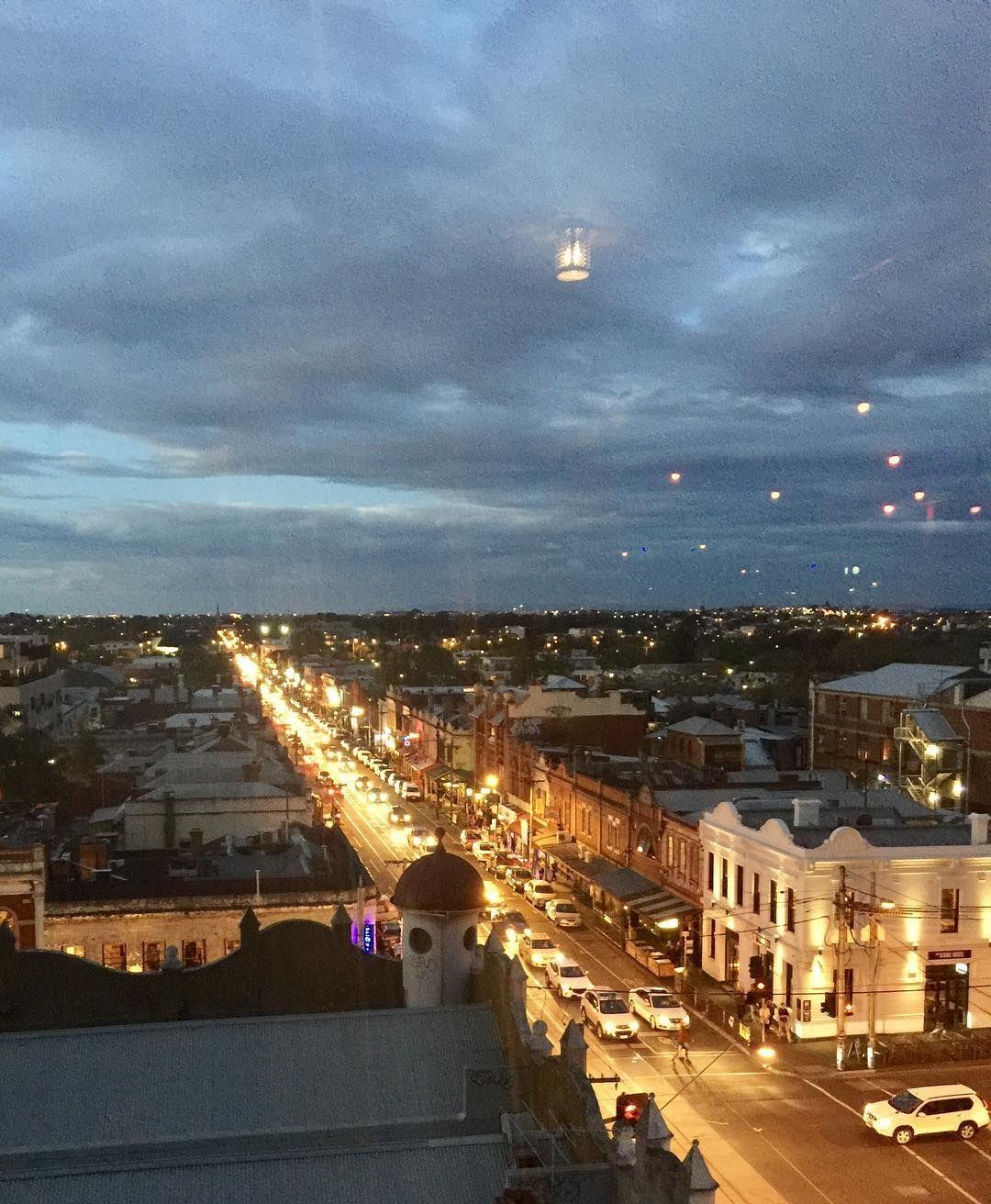 Dusk on Brunswick Street - view from rooftop bar at @nakedforsatan_  #nakedforsatan