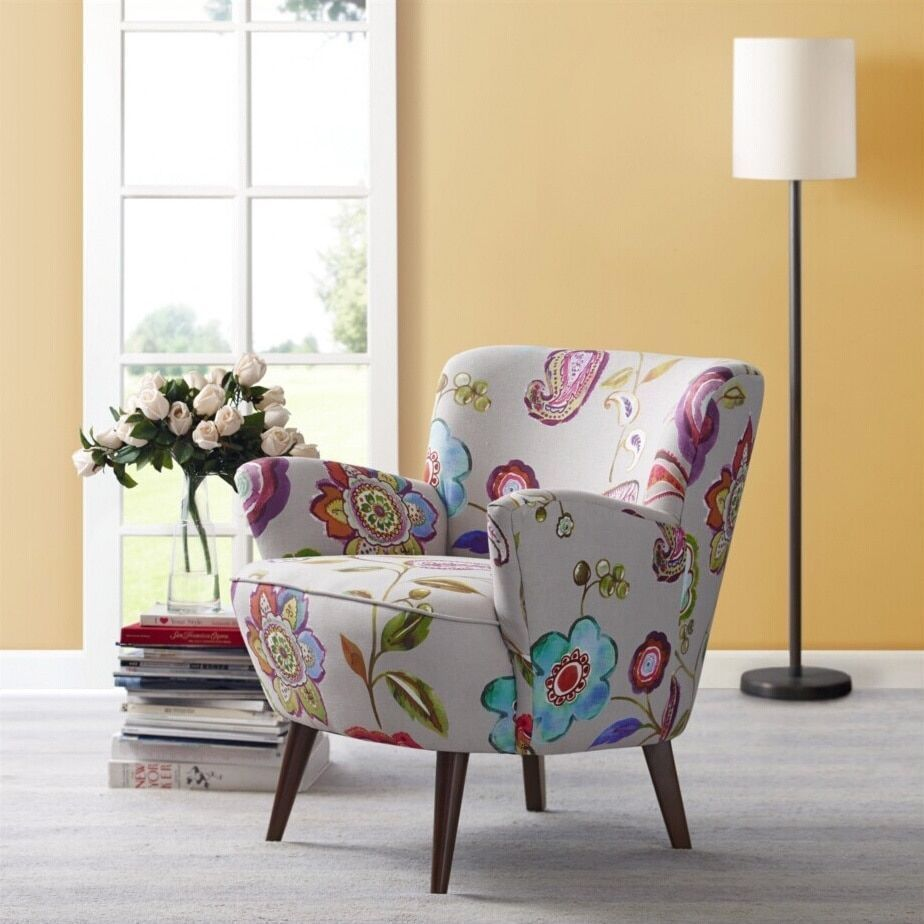 Floral Accent Chair For Living Room Fabric Furniture Classic