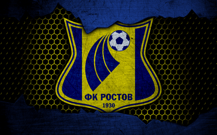 Download wallpapers FC Rostov, 4k, logo, Russian Premier League, soccer, football club, Russia, grunge, metal texture, Rostov FC