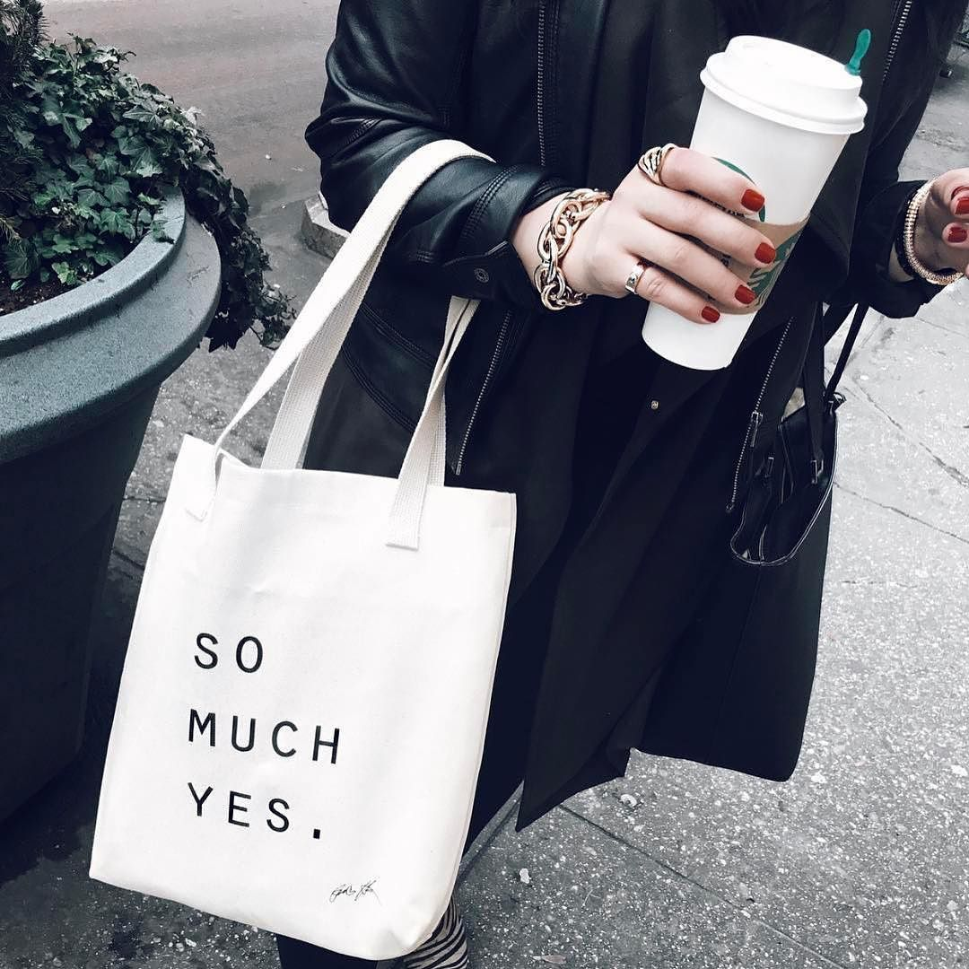 REGRAM: @bibilovesrady rocking the positivity of SO MUCH YES - that is truly what it is all about. Thanks for the love Bibi  #positive #fashion #tote #tsl