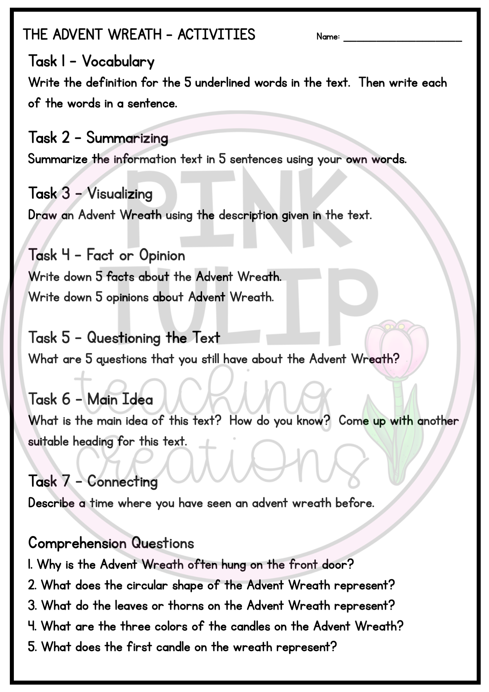Advent Wreath Christmas Comprehension Reading Strategy Worksheet Reading Comprehension Resources Reading Strategies Social Emotional Activities [ 2249 x 1589 Pixel ]