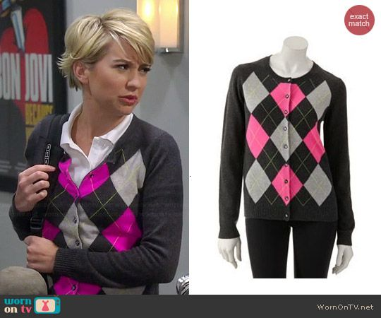 223c33676782 Riley s grey and pink argyle cardigan on Baby Daddy