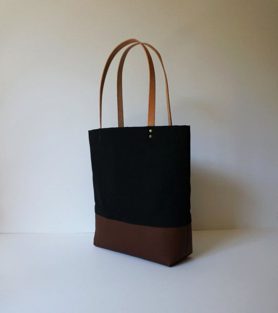 Leather Canvas Tote Bag Black by UmbrellaCollective on Etsy