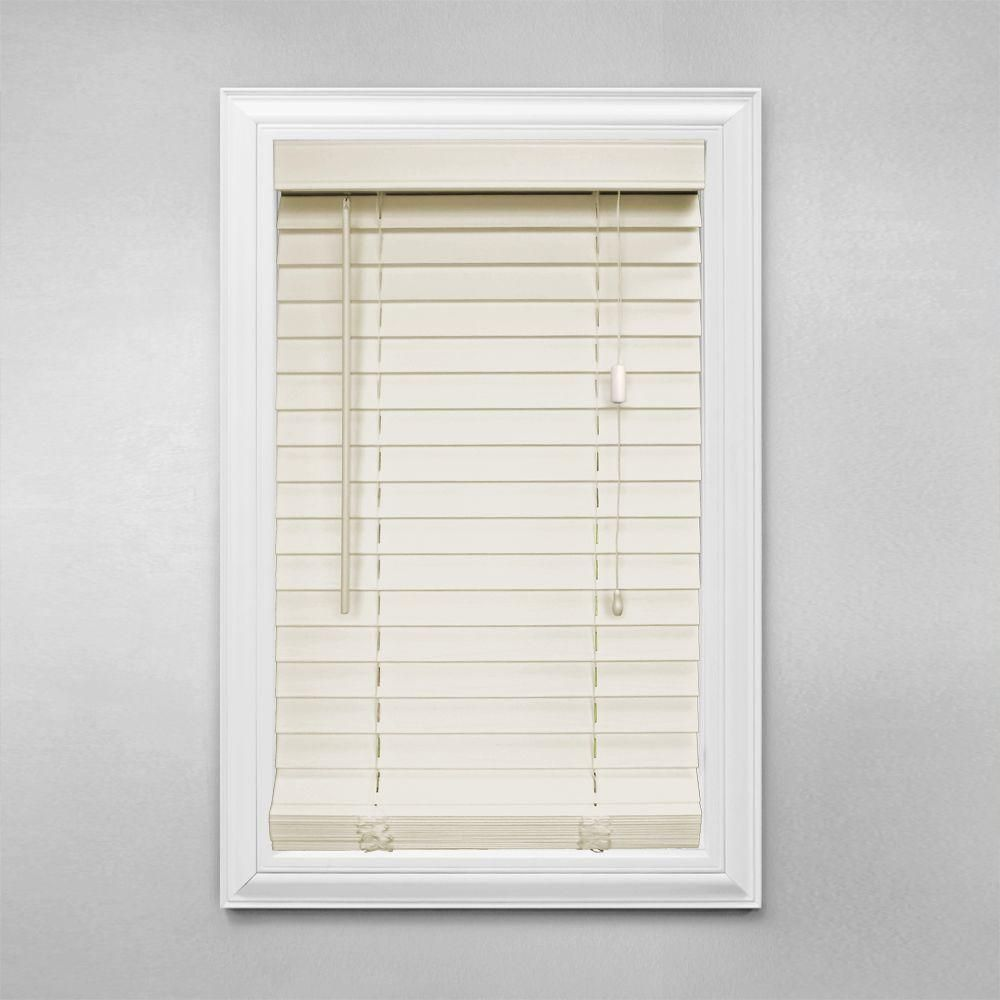 Home Decorators Collection Alabaster 2 In Faux Wood Blind 26 In W X 48 In L Actual Size 25 5 In W X 48 In L 10793478117734 The Home Depot Faux Wood Blinds Home Decorators Collection Faux Wood