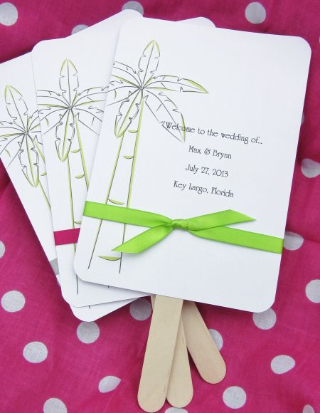 Personalized Wedding Favor Fans Palm Tree With Ribbon Favorite