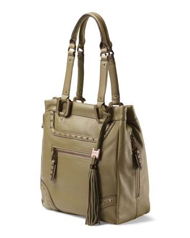 Leather Katie Studded Tote - Totes - T.J.Maxx | Bags | Pinterest ...