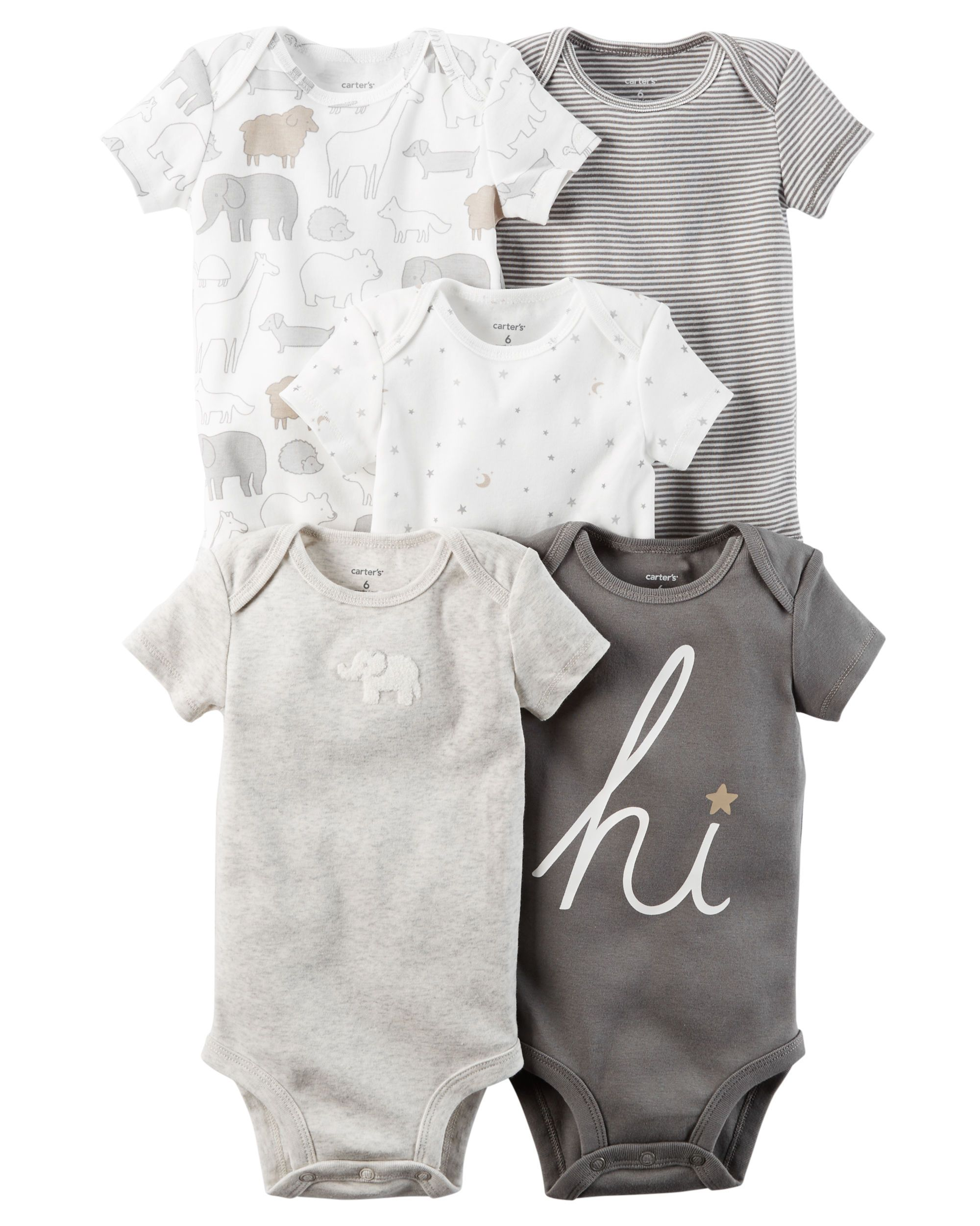 Carters 5-Pack Short-Sleeve Tees for Boys//Girls Size 12M