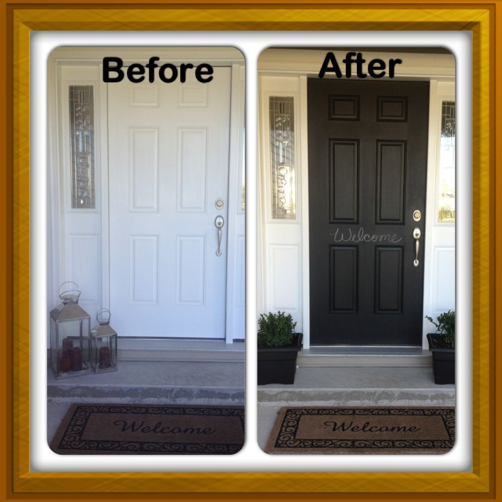 Painted front door with black chalkboard paint. Plan to