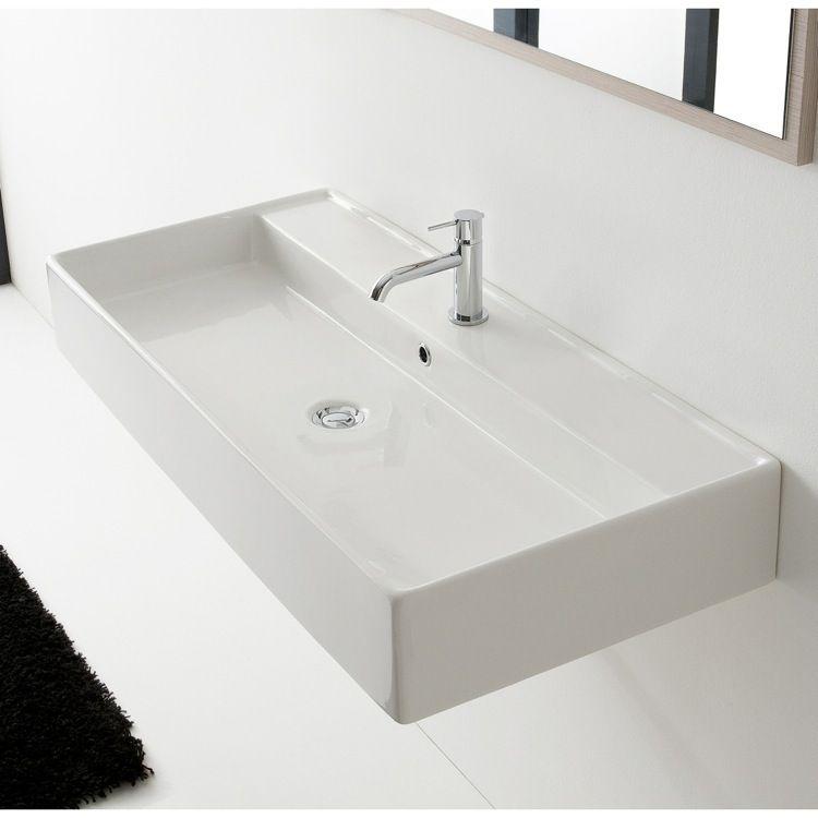 Trough Ceramic Wall Mounted Or Vessel Sink Bathroom Sink Wall