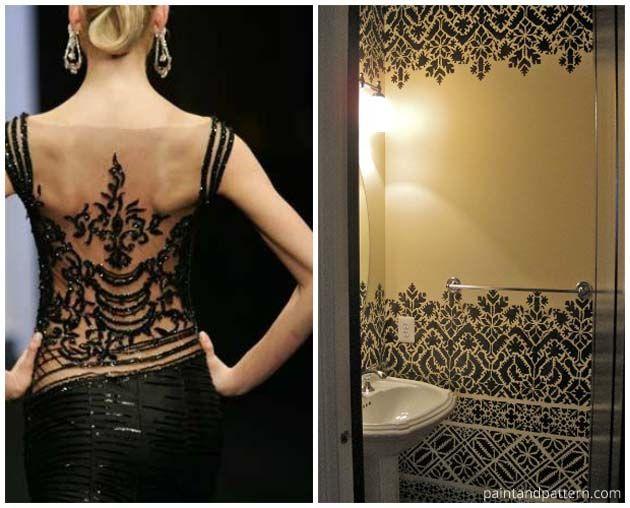 fashion inspired stenciled bathroom using wall stencils from royal