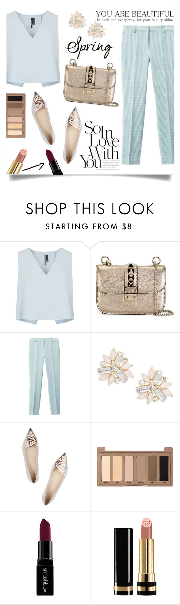 """""""Day to night: spring edition!"""" by anchilly23 ❤ liked on Polyvore featuring Topshop, Valentino, 3.1 Phillip Lim, Cara, Sophia Webster, Urban Decay, Smashbox and Gucci"""