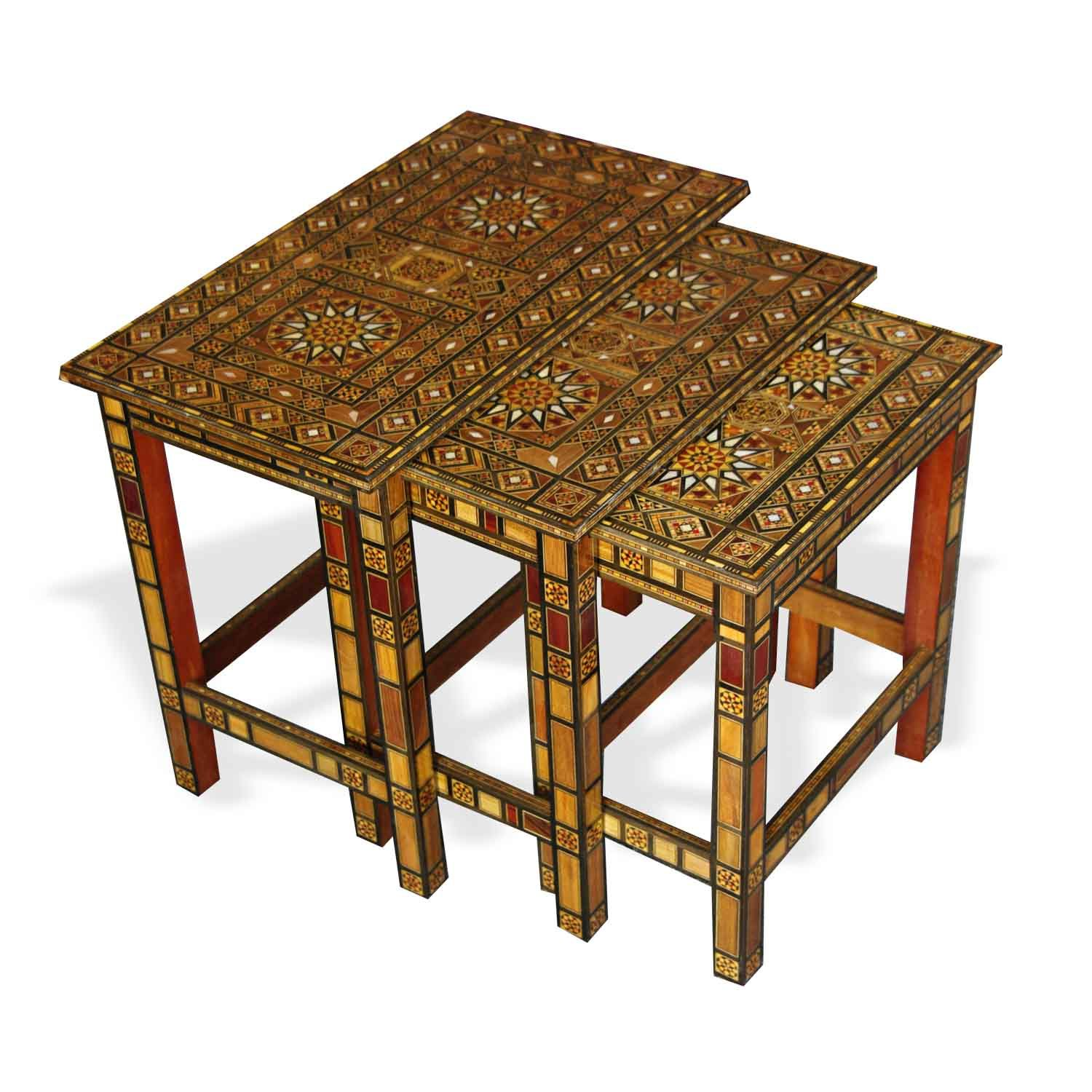 Show details for Style 1076 Damascene Mosaic nesting tables
