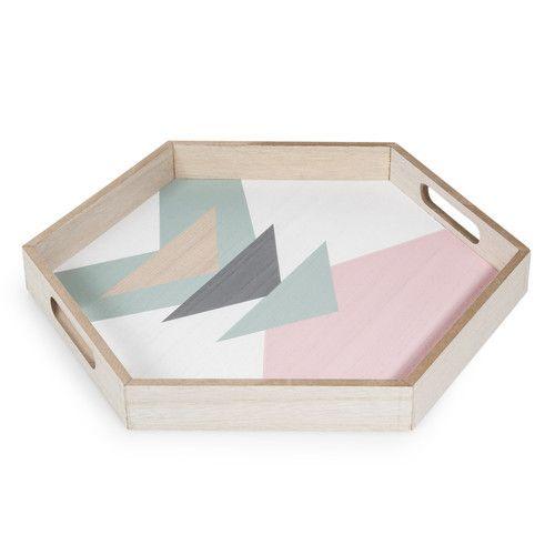 Achteckiges Tablett Malvina Aus Holz 35 X 40 Cm Dekopub With