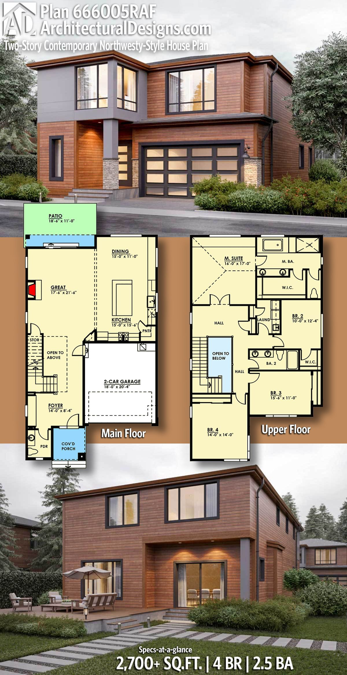 Plan 666005RAF Two Story Contemporary Northwesty Style House Plan