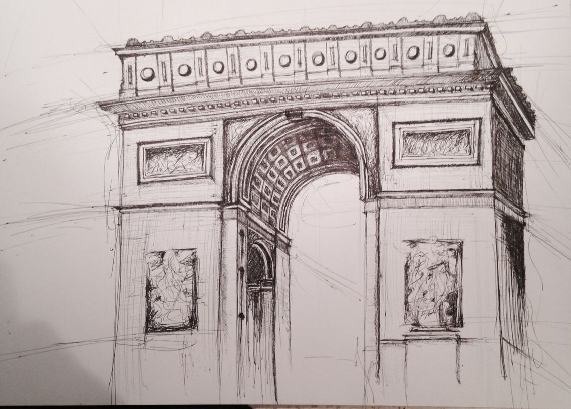 l u0027arc de triomphe pen and ink sketch drawings for class