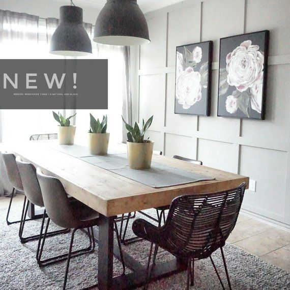 Natural Wood Dining Room Tables: Modern Farmhouse Dining Table With Black Base And Natural