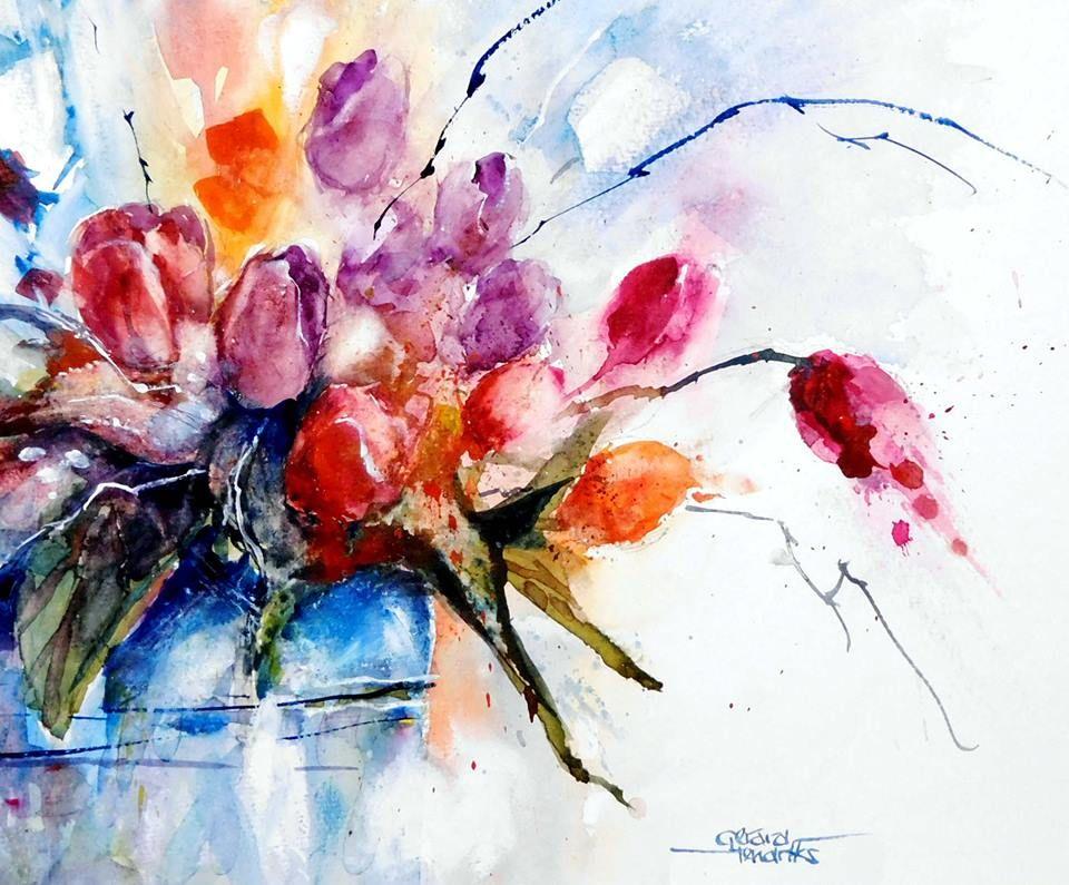 Watercolour Paintings 9 Watercolor Splash Floral Painting