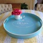 "Prada Milano Rope hand painted 21""Light Blue and White Bar Tray XL"