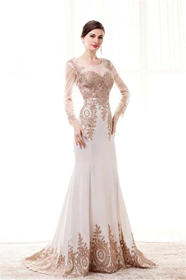 c2044ed65080 Fitted Scoop Neck White Satin Gold Lace See Through Prom Dress With Sleeves