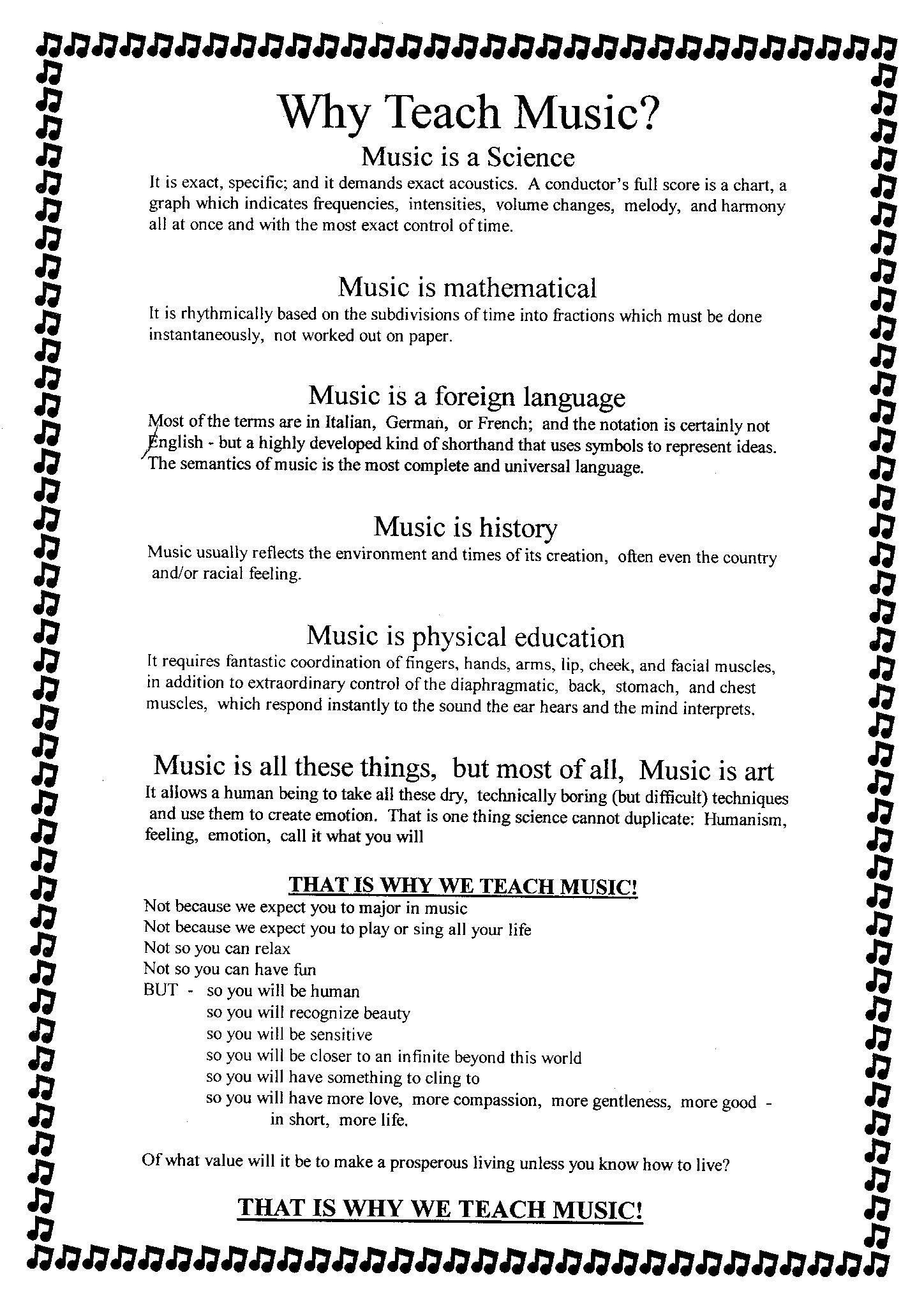 I Dont Like When People Justify Teaching Music By Saying It Makes