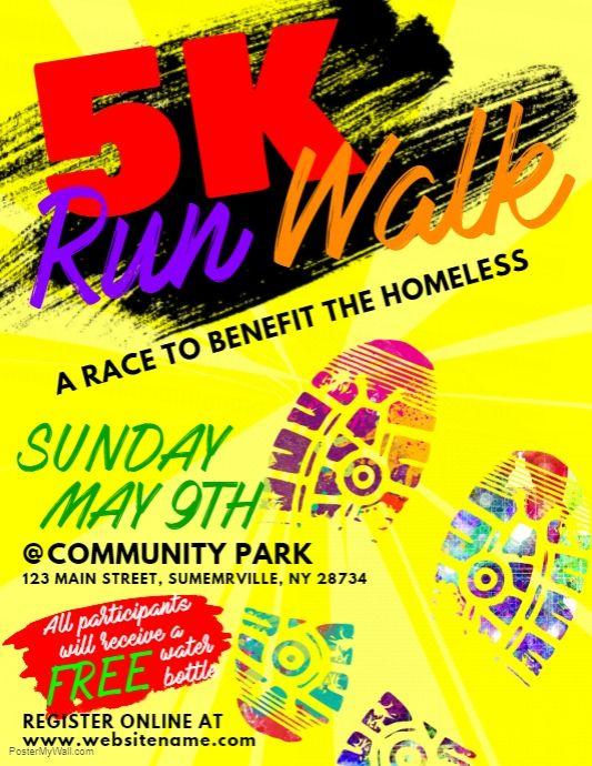5k Run Walk Flyer Fundraising Poster Poster Template Free Flyer
