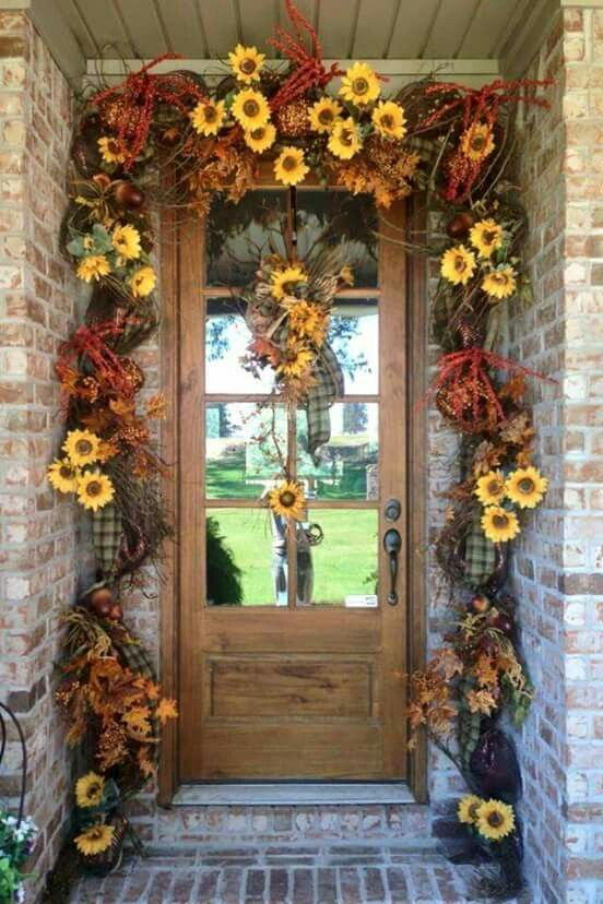 Sunflower Garland For Entryway Give Thanks Fall