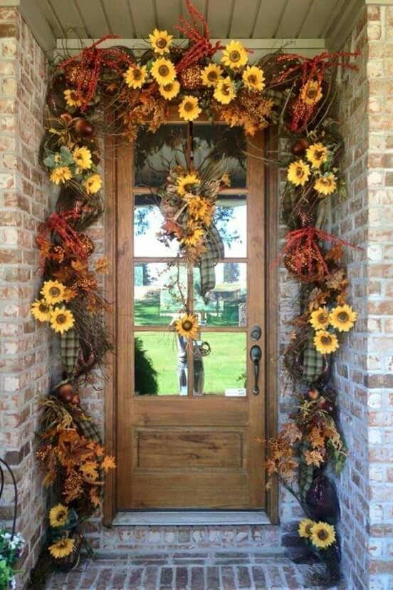 Sunflower Garland For Entryway Fall Wreaths Fall Decor