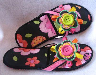 CassandrasEmbroidery.com in the hoop flip flops