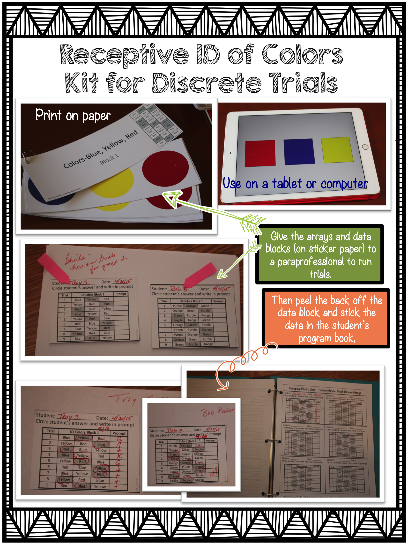 Free Sample Discrete Trial Kit Receptive Id Of Colors