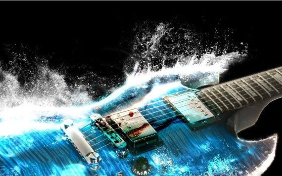 Mini-Mural Electric Guitar Splash Wall Graphic Vinyl Sticker Decal Kids Teen Music Band Poster Man C