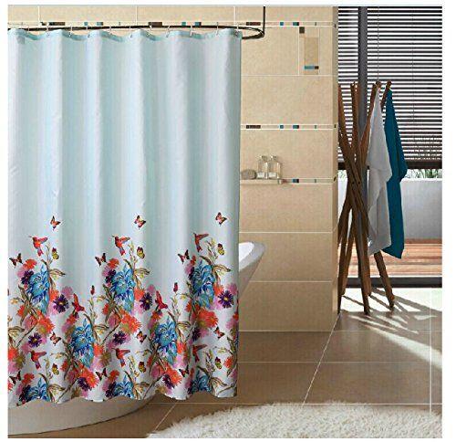 Amazon Com Eforgift Garden Theme Fabric Shower Curtain