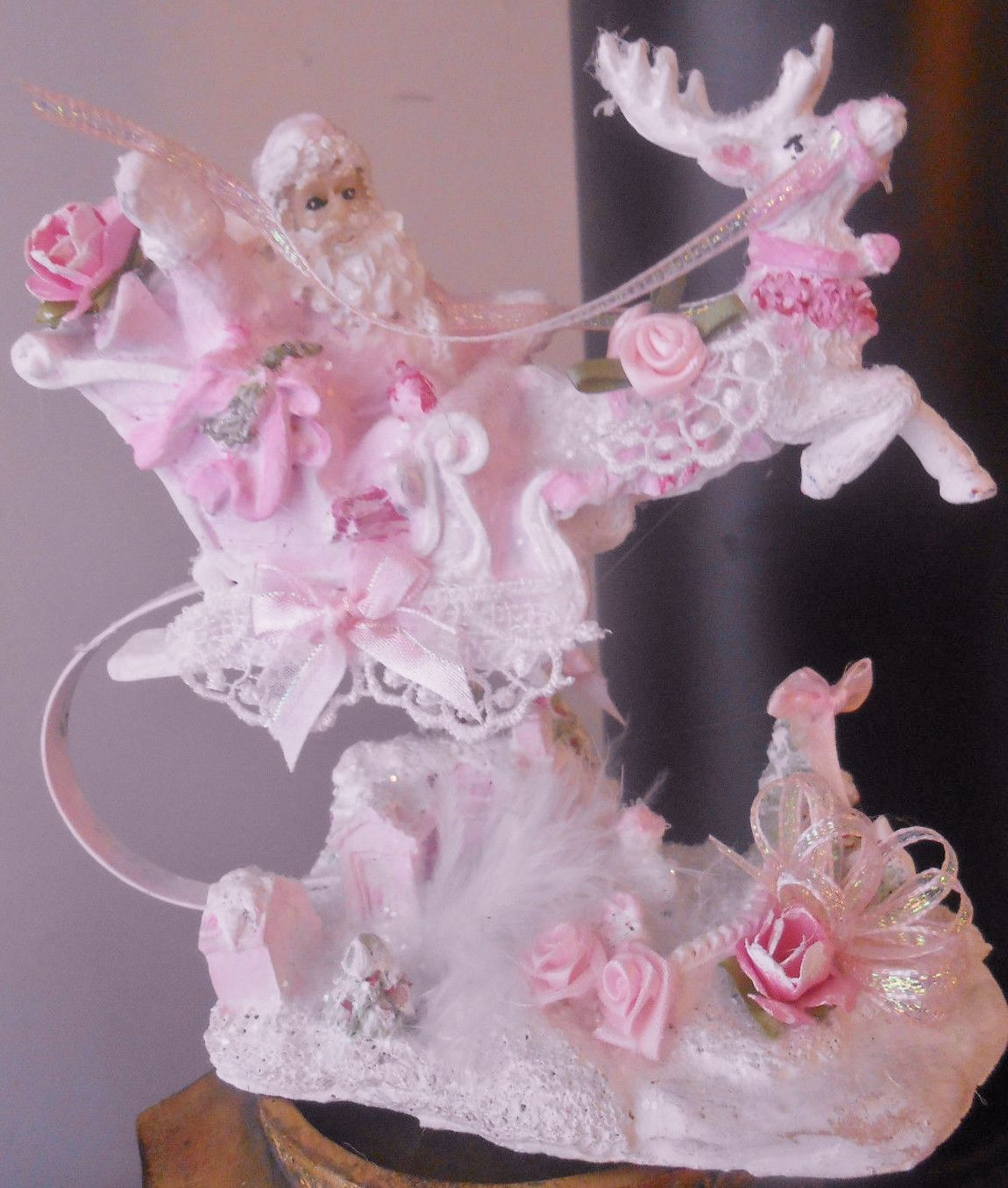 shabby pink victorian christmas santa sleigh figure