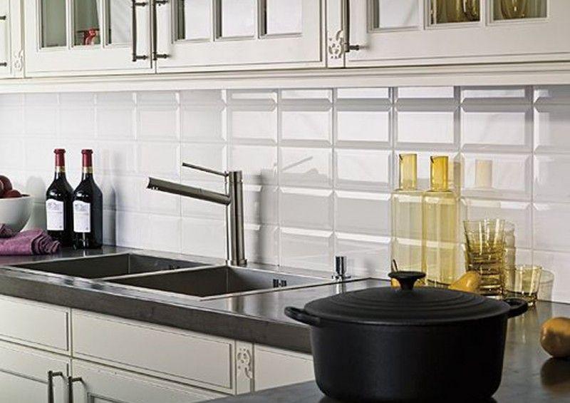 Revestimiento blanco brillo 10x20 biselado tienda online for Azulejos cocina blanco brillo
