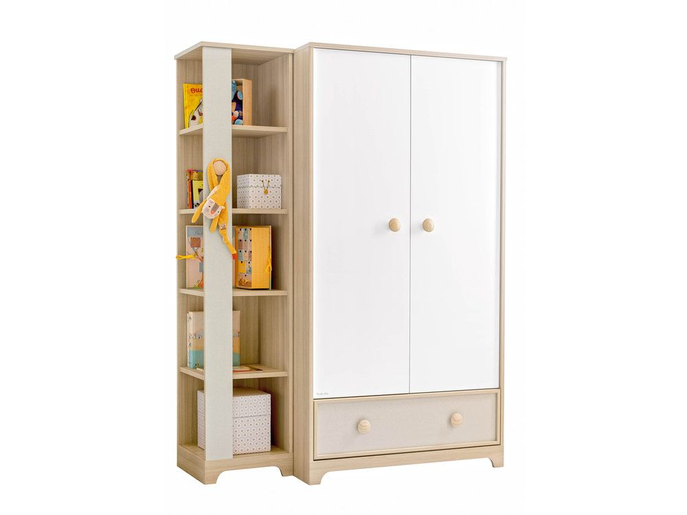 armoire 2 portes olympe avec biblioth que armoire enfant delamaison ventes pas. Black Bedroom Furniture Sets. Home Design Ideas