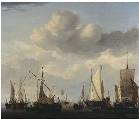 Willem van de Velde - A Kaag, pont, states yacht and other vessesl under sail over a wide sea. ca. 1658.