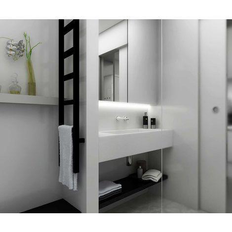 Sèche-serviette mixte - Couleur Noir Mat - Easy (plusieurs tailles - porte serviette salle de bain design