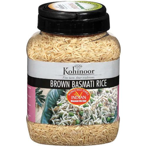Kohinoor Brown Basmati Rice. This brand of long grain brown rice is very tasty. I prefer brown basmati rice in general to the short grain variety, due to its much more subtle and delicate flavor. (With short grain brown rice, it can feel like one is chomping down on cardboard. Just because it's important to get one's daily fiber doesn't mean it needs to literally feel like it. Lol.)
