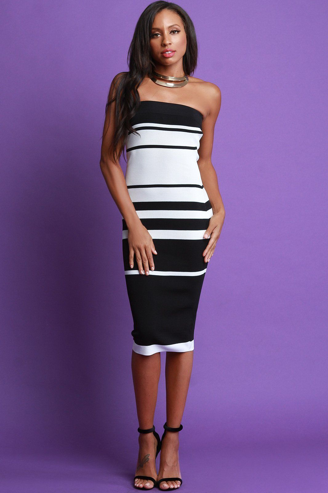 How to striped wear tube dress 2019