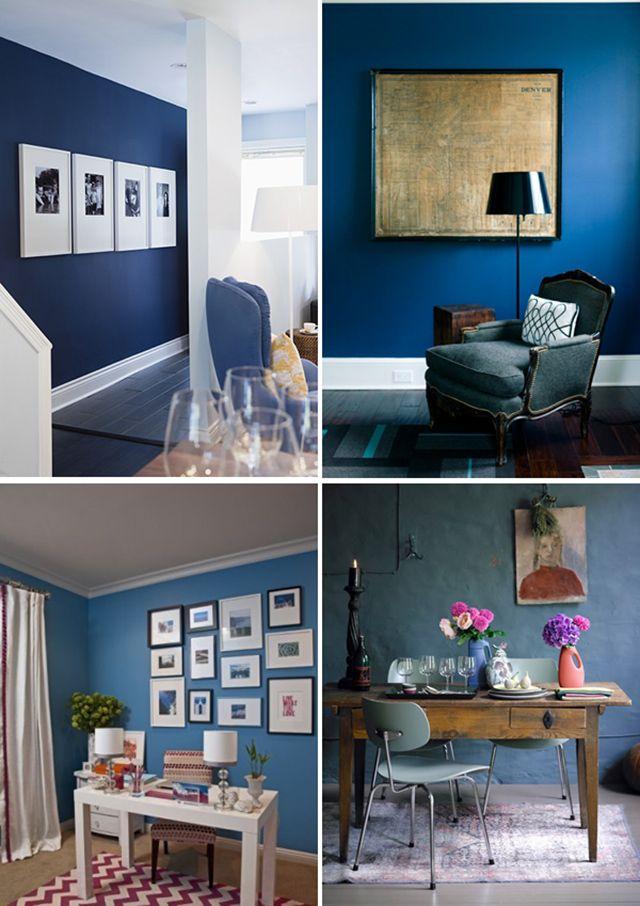 Blauwe muur nieuwe kansen pinterest muur kleur en grijze bank - Muur deco volwassen kamer ...