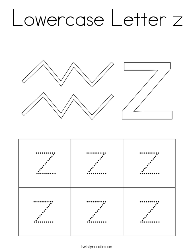Lowercase Letter Z Coloring Page Twisty Noodle Letter Z Lower Case Letters Lettering