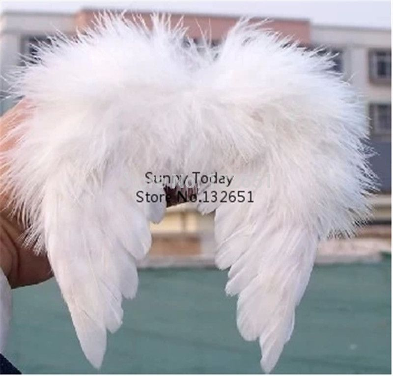 Miniature White Feather Angel Wings Christmas Party Photography Photo Props