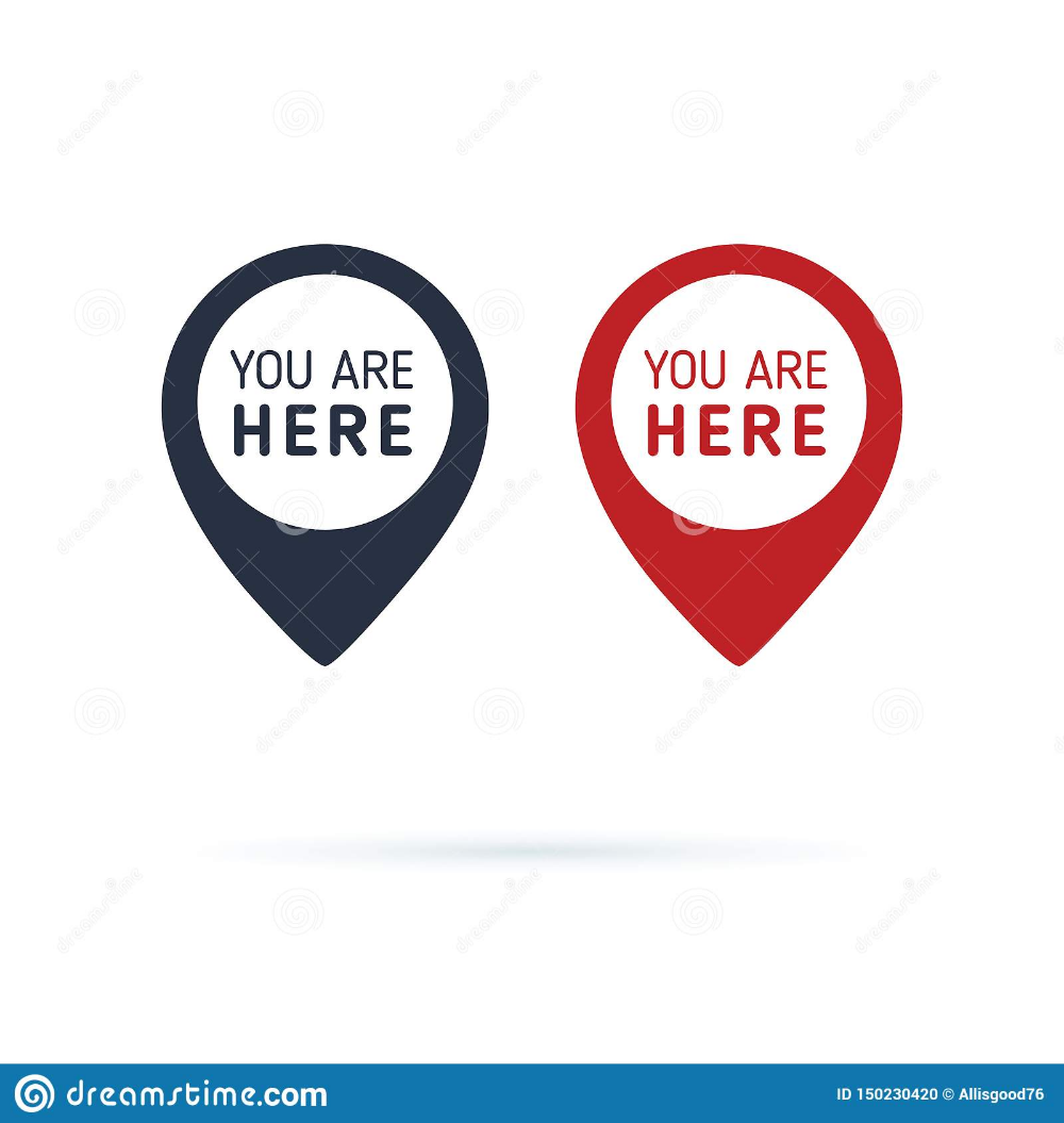 You Are Here Sign Icon Mark Destination Or Location Point Concept Pin Position Marker Design Illustration About Here Information Mark Creative Direction