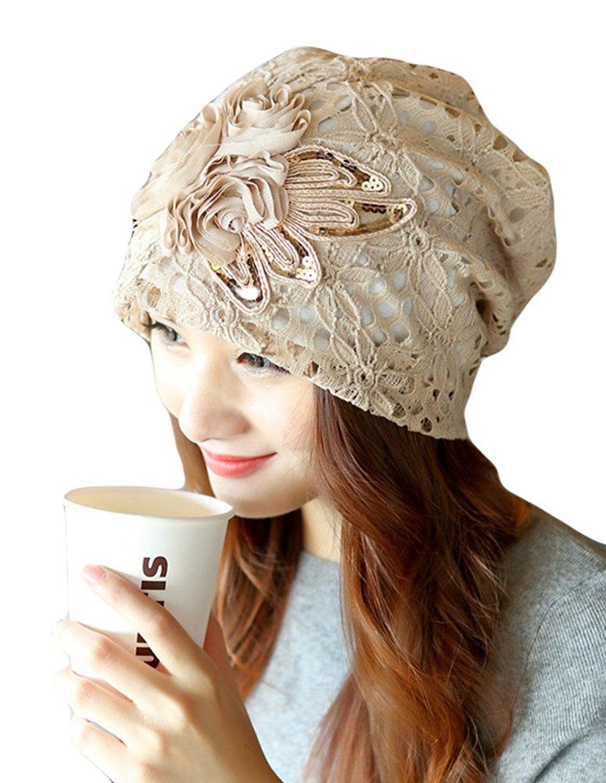 15095861d109b Qunson Womens Lace Flower Beanie Hat Cap Turban (beige) at Amazon Women s  Clothing store