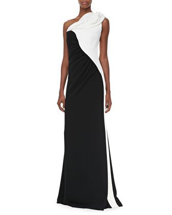 402a7fd9594 Two-Tone One-Shoulder Gown by Badgley Mischka at Neiman Marcus ...