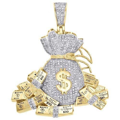 10K Yellow Gold Diamond Money Bag 100 Dollar Stacks Pendant 1.85
