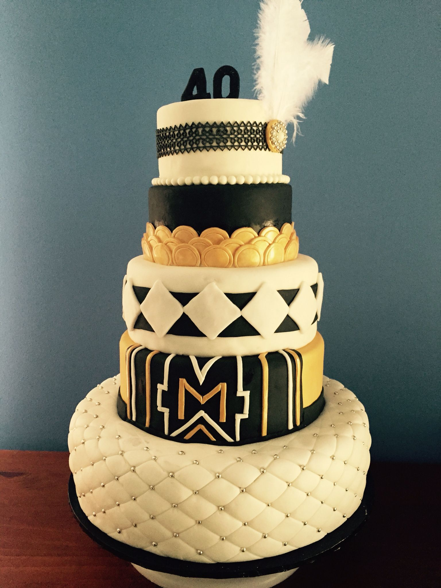 My 5 Tier Great Gatsby Themed Birthday Cake
