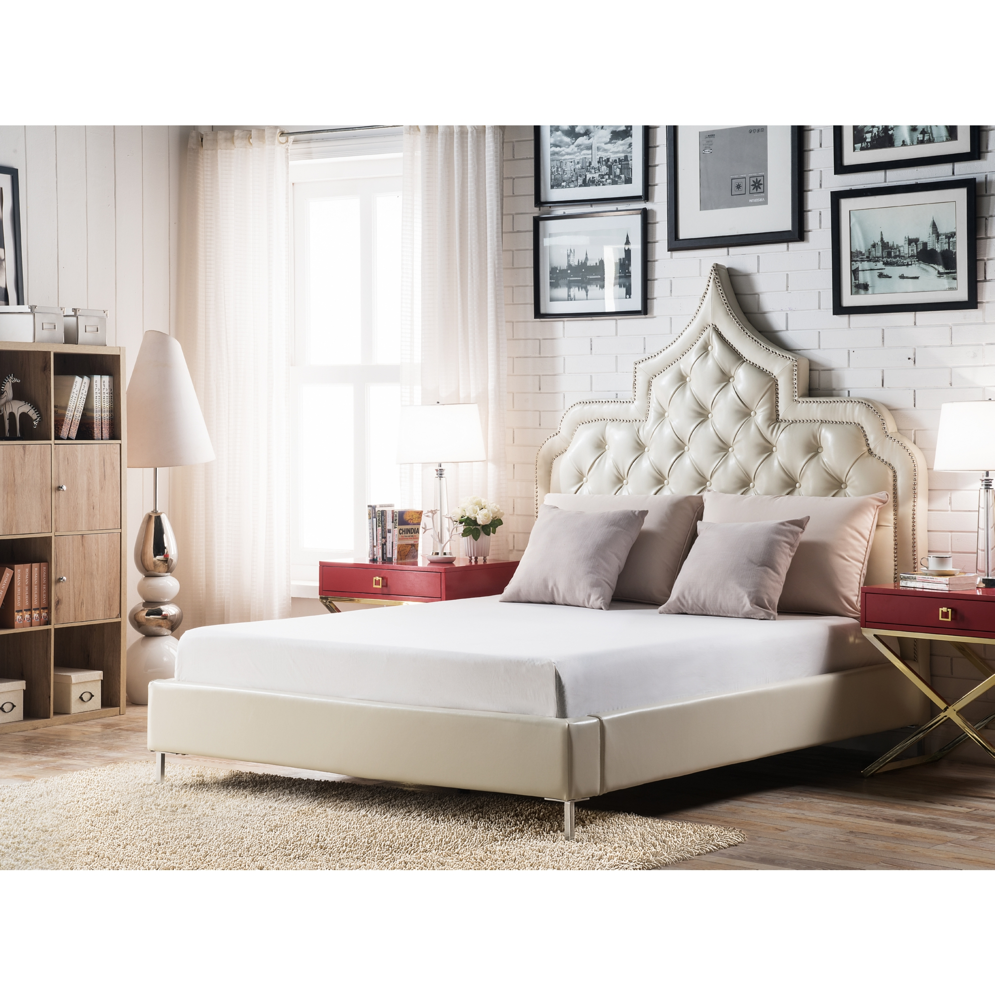 Victorian Peak King Bed In Cream White Tufted Leatherette W